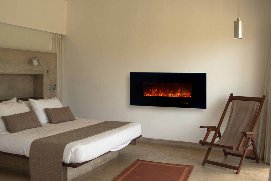 save space with a corner electric fireplace