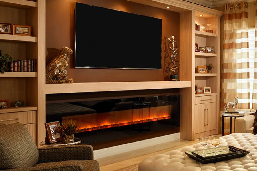 One of the latest developments in LED fireplaces is the wall mounted fireplace